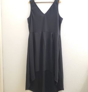 24Seven Black Double V High-Low Hem Dress D10